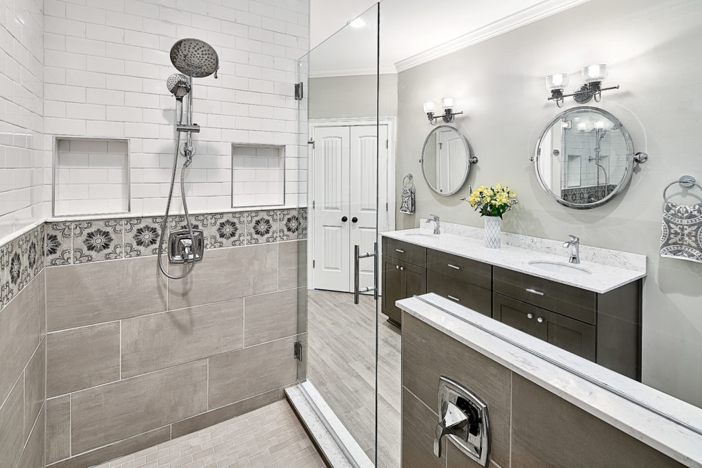 mixing tile patterns in the master bathroom; Tile Design Ideas in Charlotte, NC