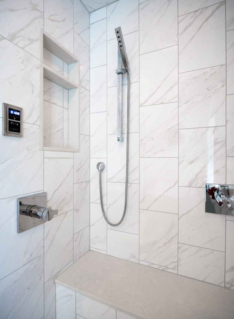 Vertical running bond shower wall tile; Tile Design Ideas in Charlotte, NC