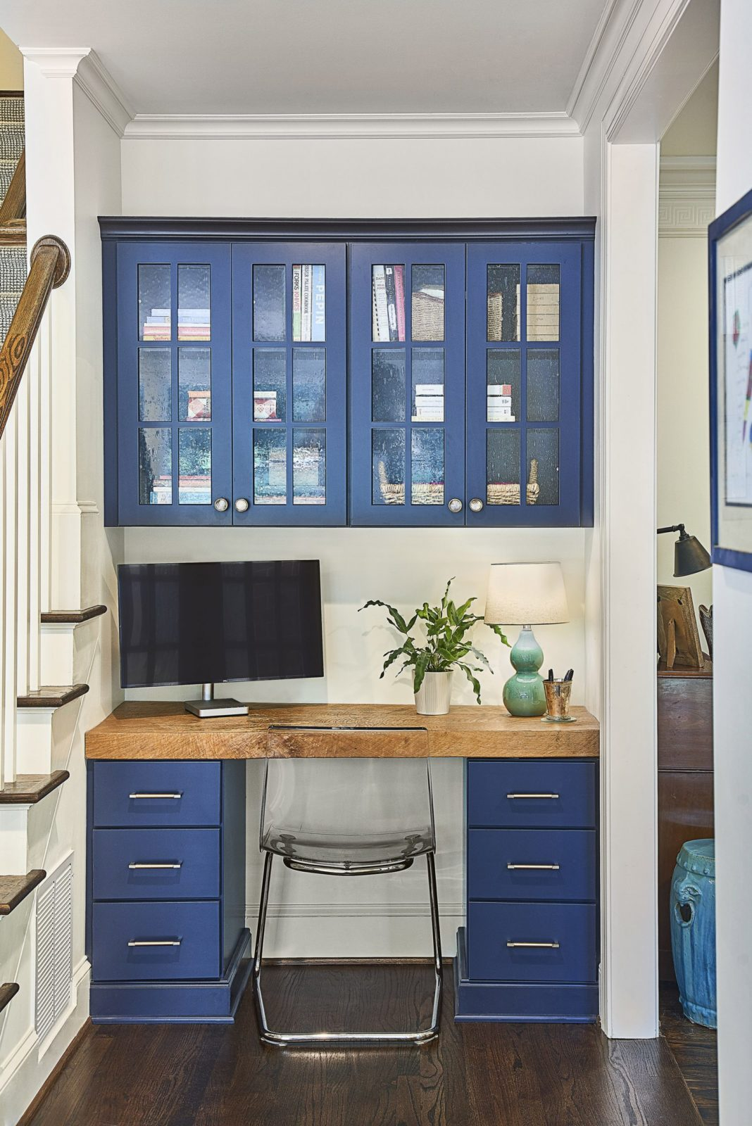 Navy kitchen desk space