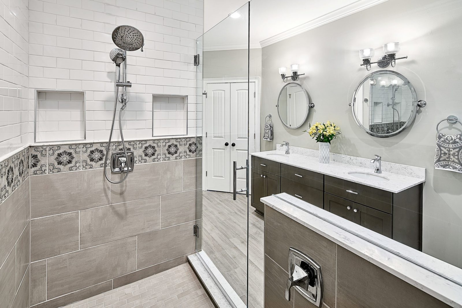 Recessed shower niches with subway tile