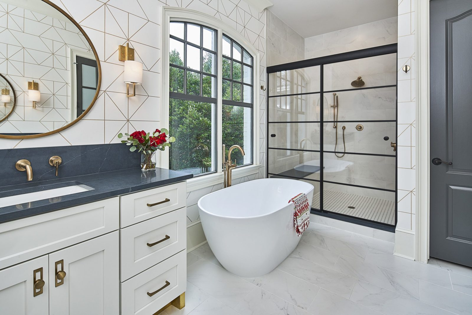 Black framed sliding shower door