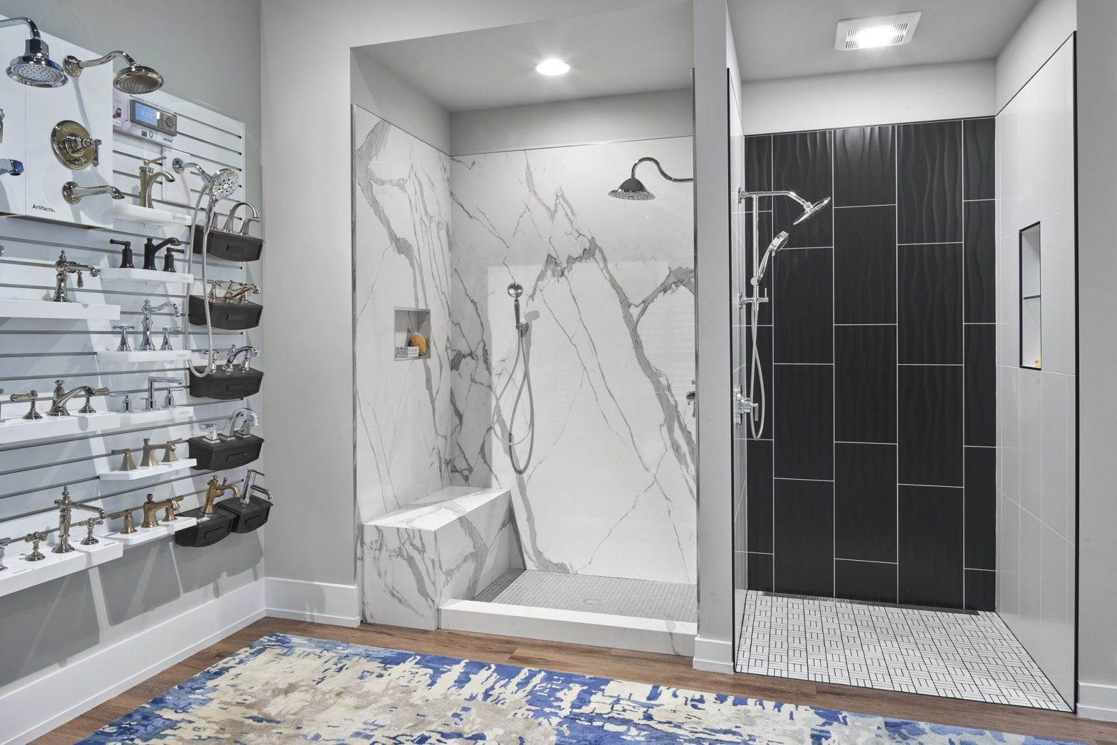 A porcelain slab shower enclosure on the left and a contemporary alcove shower on the right.